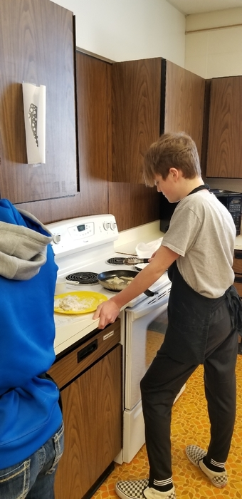 Pan Frying.  Alex and his group made some executive decisions to make fish nuggets and added mustard to their tartar sauce. It was a huge success!