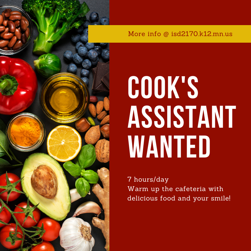 Cook's Assistant Wanted