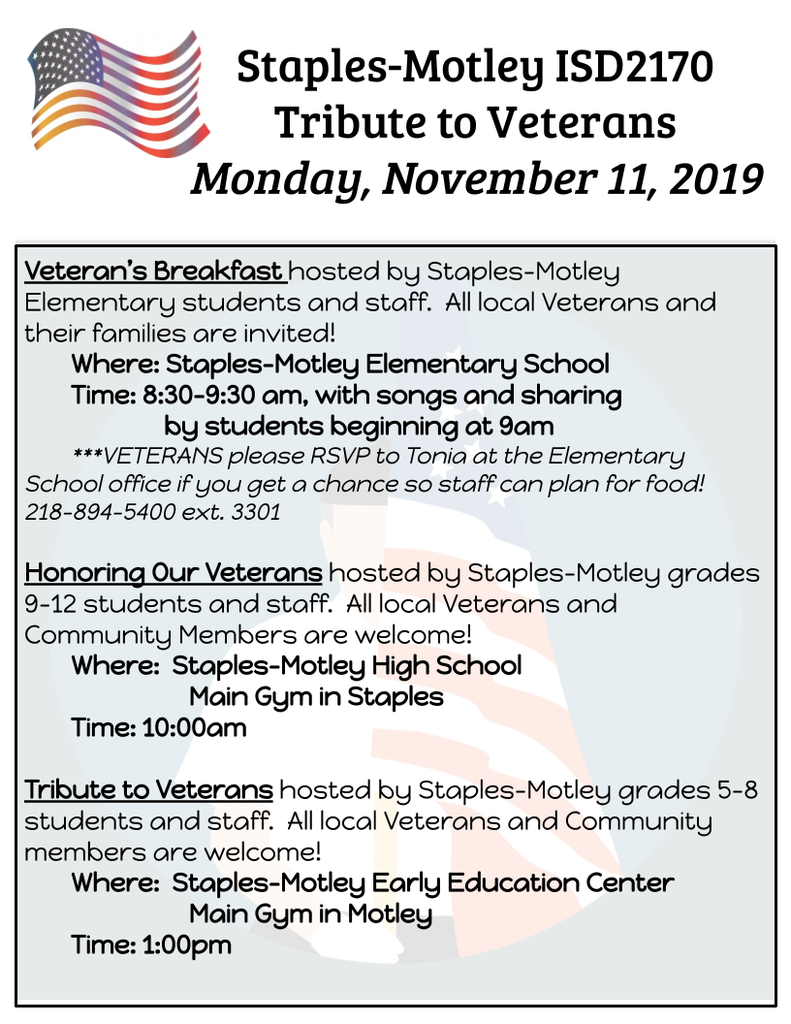 Veteran's Day Events Flyer