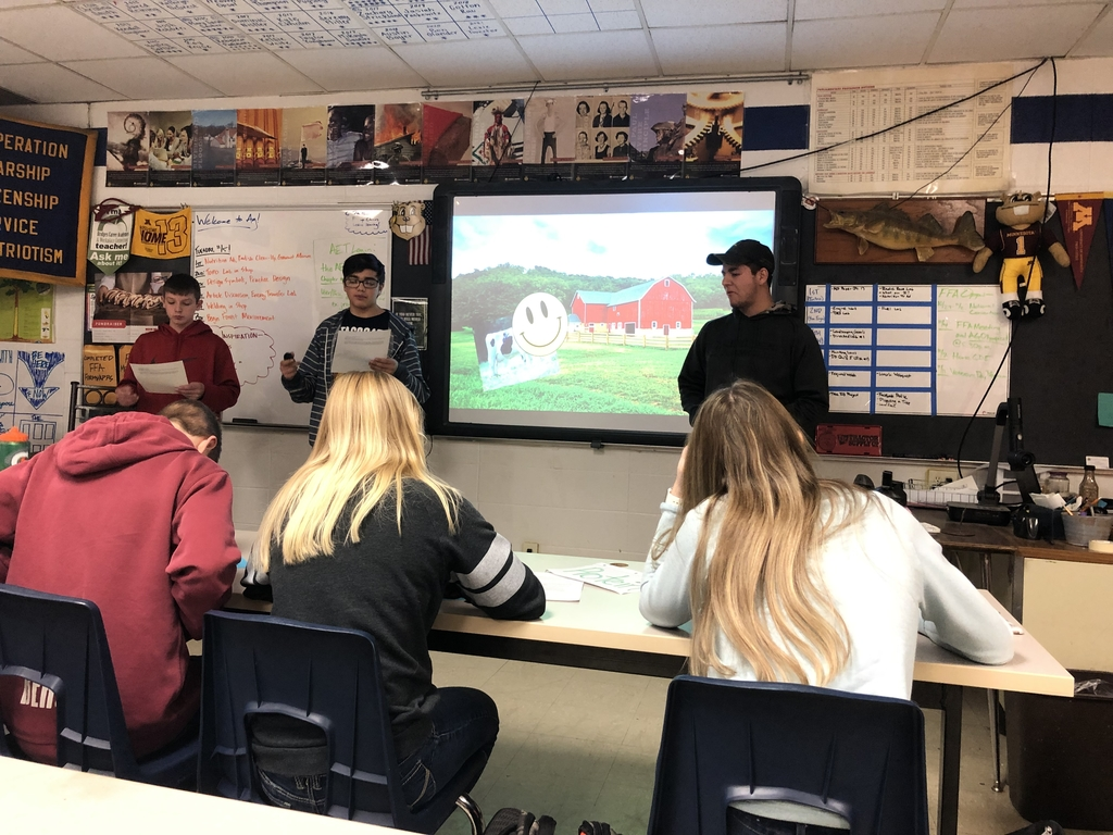 "To kick off the animal nutrition unit in Mr. Ramstad's Intro to Ag class, students made some high quality TV ads promoting different types of animal nutrients then whipped up their own ""gourmet manure"" to symbolize different defects or diseases that farmers and vets can detect in livestock manure (such as excess fiber, Johnnes, acidosis, etc.). We all had a great time making and then eating our pudding and frosting creations!"