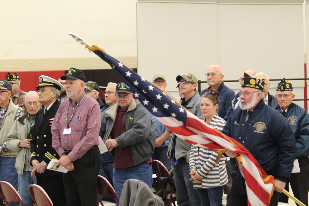 Local veterans present the colors at the Honoring Our Veterans event held at Staple-Motley High School.