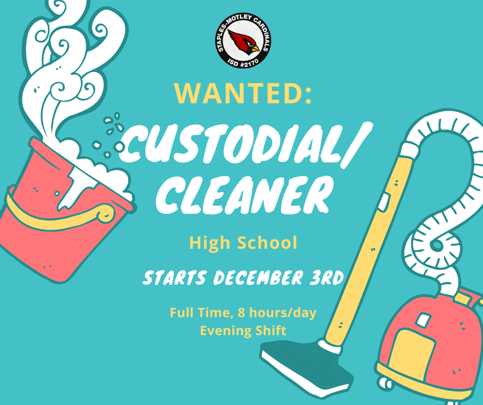 HS Custodial/Cleaner WANTED!