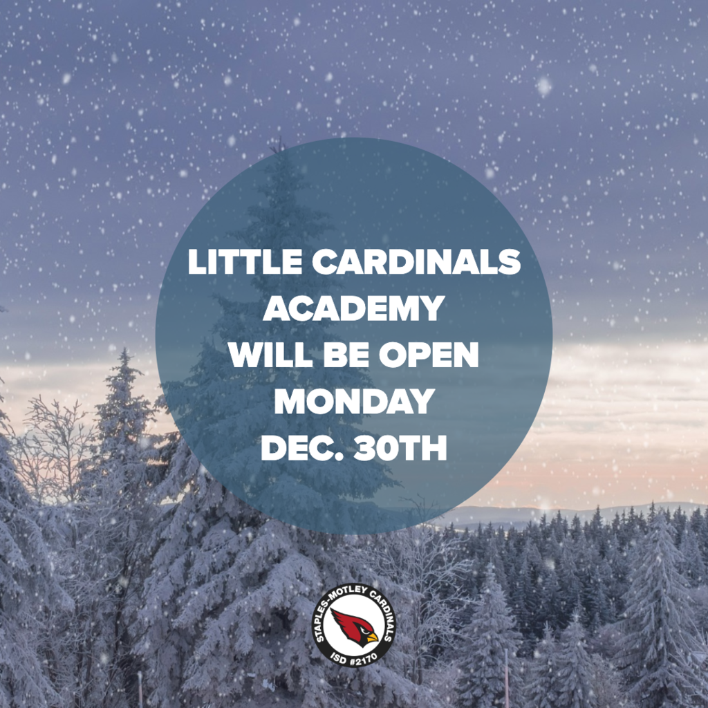 Little Cardinals Academy will be open Mon. Dec. 30th