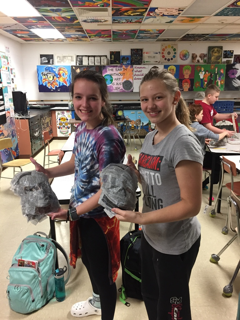 7th grade art in Ms. Toft's class