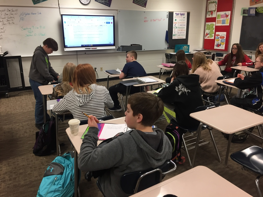 Ms. Simek's class works on interesting writing prompts