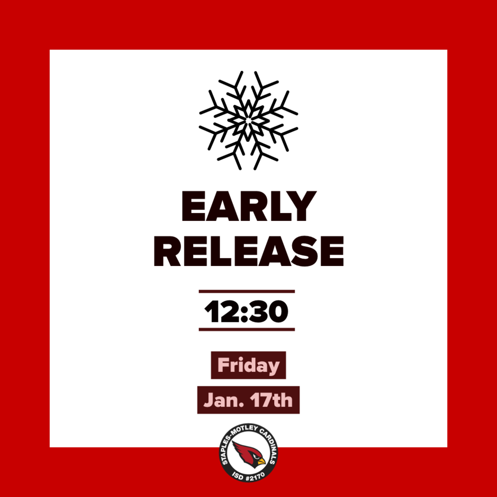 Early release 12:30pm for all schools Friday, Jan 17