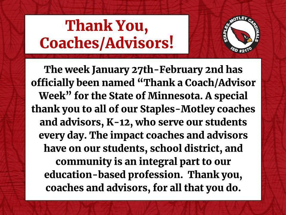Thank you, Coaches/Advisors!