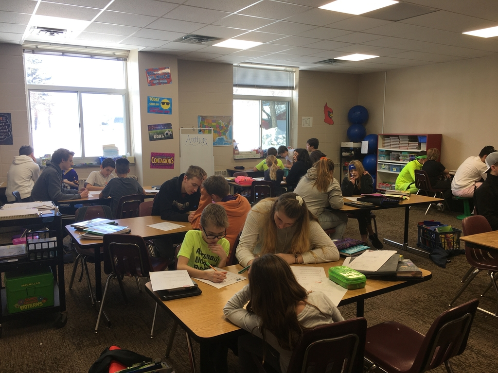 High school students help middle school students with their math