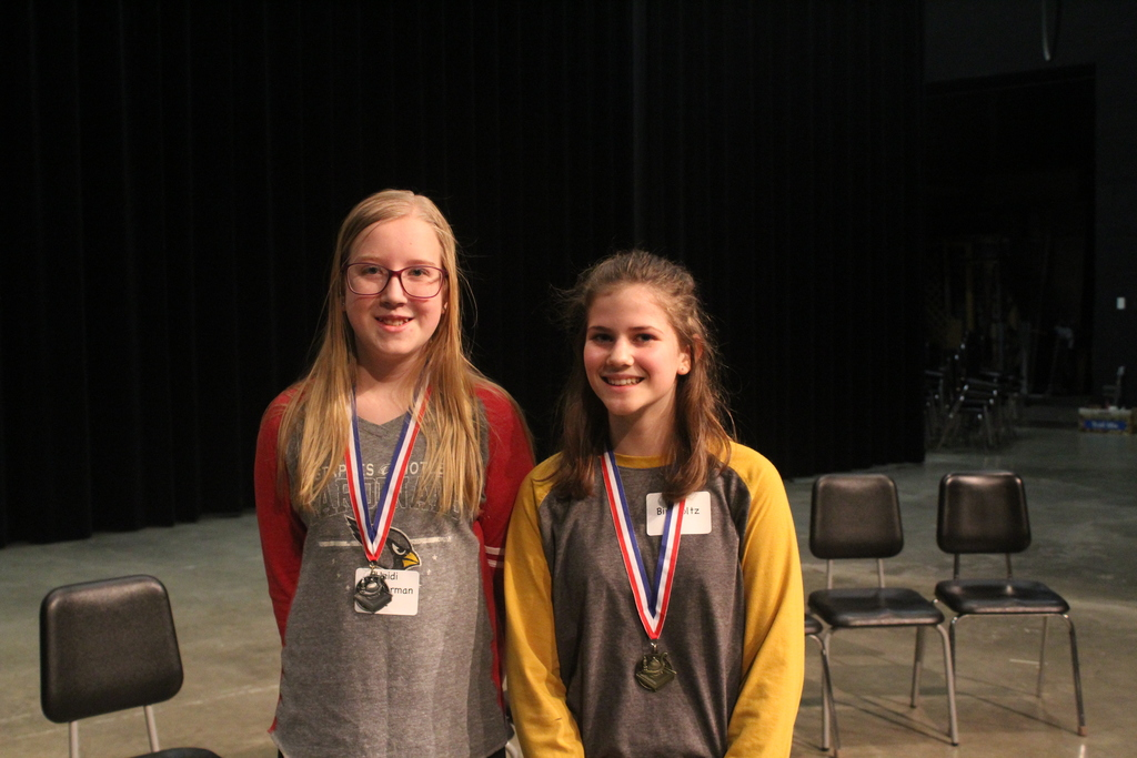 Spelling bee runner up Heidi Zimmerman and winner Bel Birkholtz