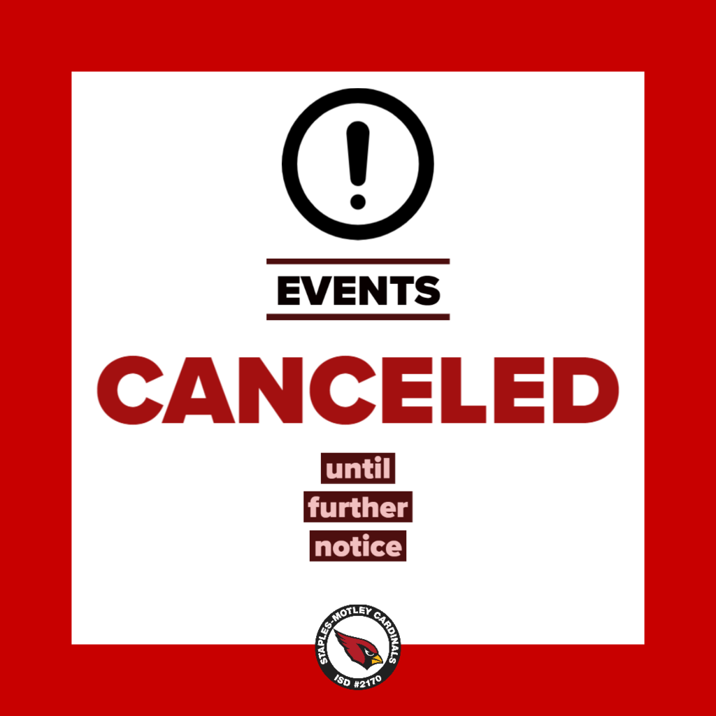 All events are canceled until further notice due to COVID-19