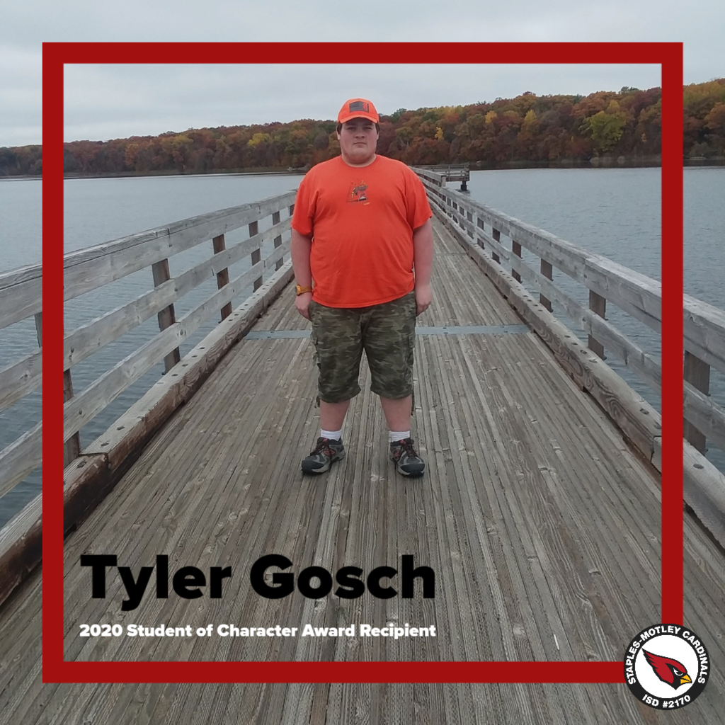 Tyler Gosch - 2020 Student of Character Award Recipient