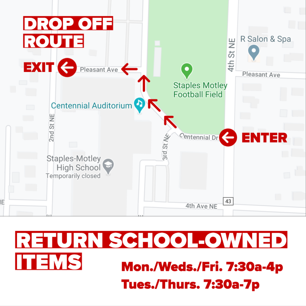 Drop-off route and schedule for return of school-owned items the week of May 18-22.